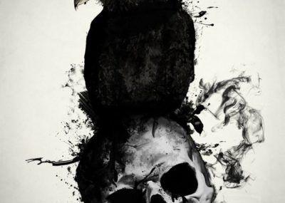 эскизы тату череп и ворон