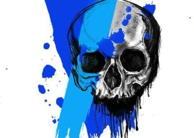 эскизы тату череп синий
