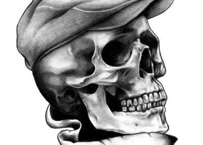 эскизы тату череп с кепкой
