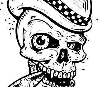 эскизы тату череп американский