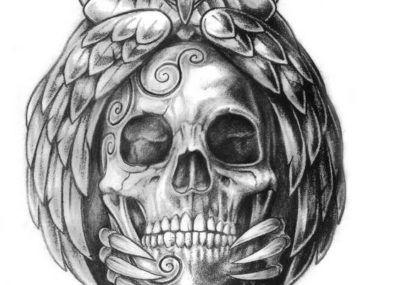 эскизы тату череп фрида кало