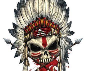 эскизы тату череп индеец