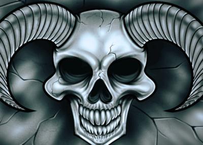 эскизы тату череп с рогами