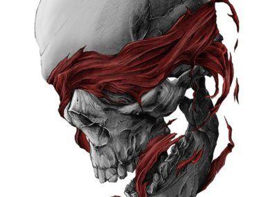 эскизы тату череп с завязанными глазами
