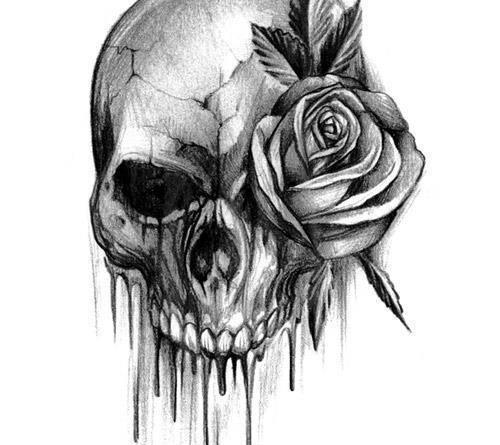 эскизы тату череп с розой