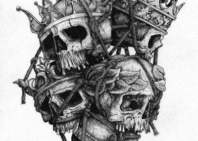 эскизы тату череп с короной