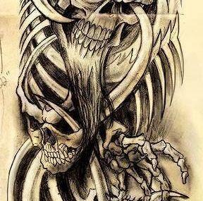 эскизы тату череп кости