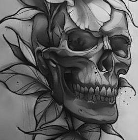 эскизы тату череп и цветы