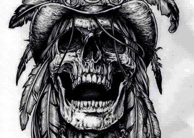 эскизы тату череп индейца