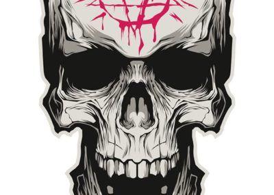 эскизы тату череп антихрист