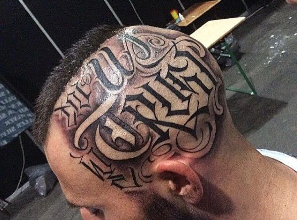 Тату надписи на голове фото
