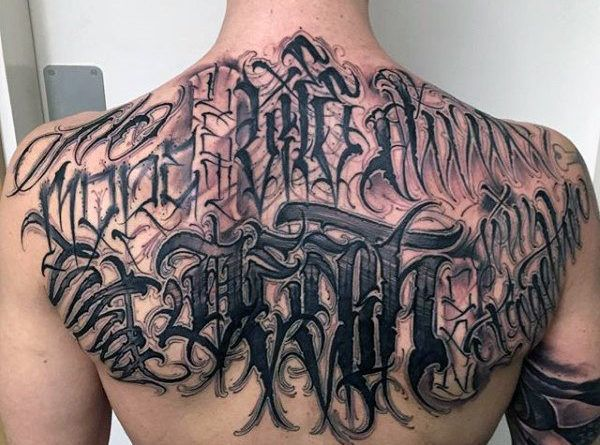Тату надписи фото на спине