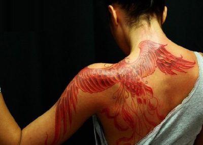 татуировка феникса красный
