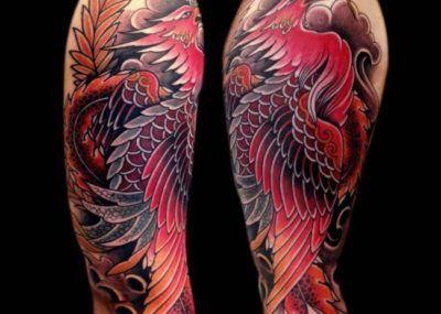 татуировка феникса плечо
