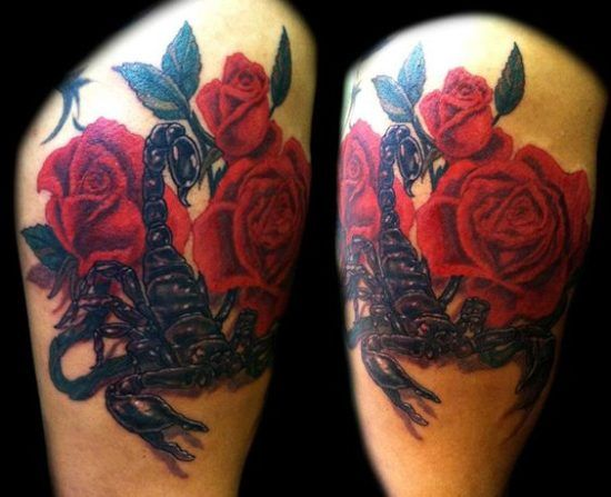 Girly scorpion flower tattoos