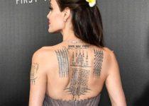 Анджелина Джоли тату на спине