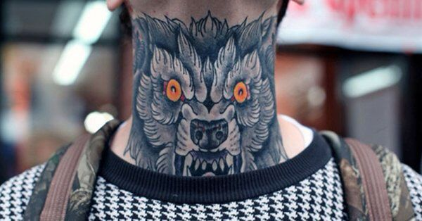 фото Neck Tattoo волк тату на шее