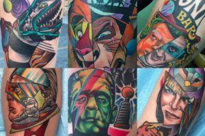 Герои и персонажи в татуировке