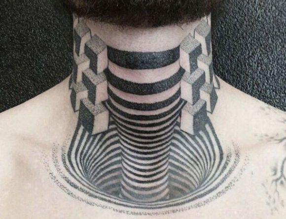 3D геометрия тату объёмная оптическая иллюзия