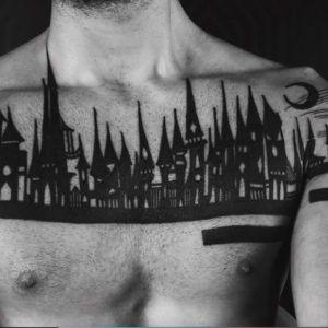 Готические замки в татуировках Houston Patton