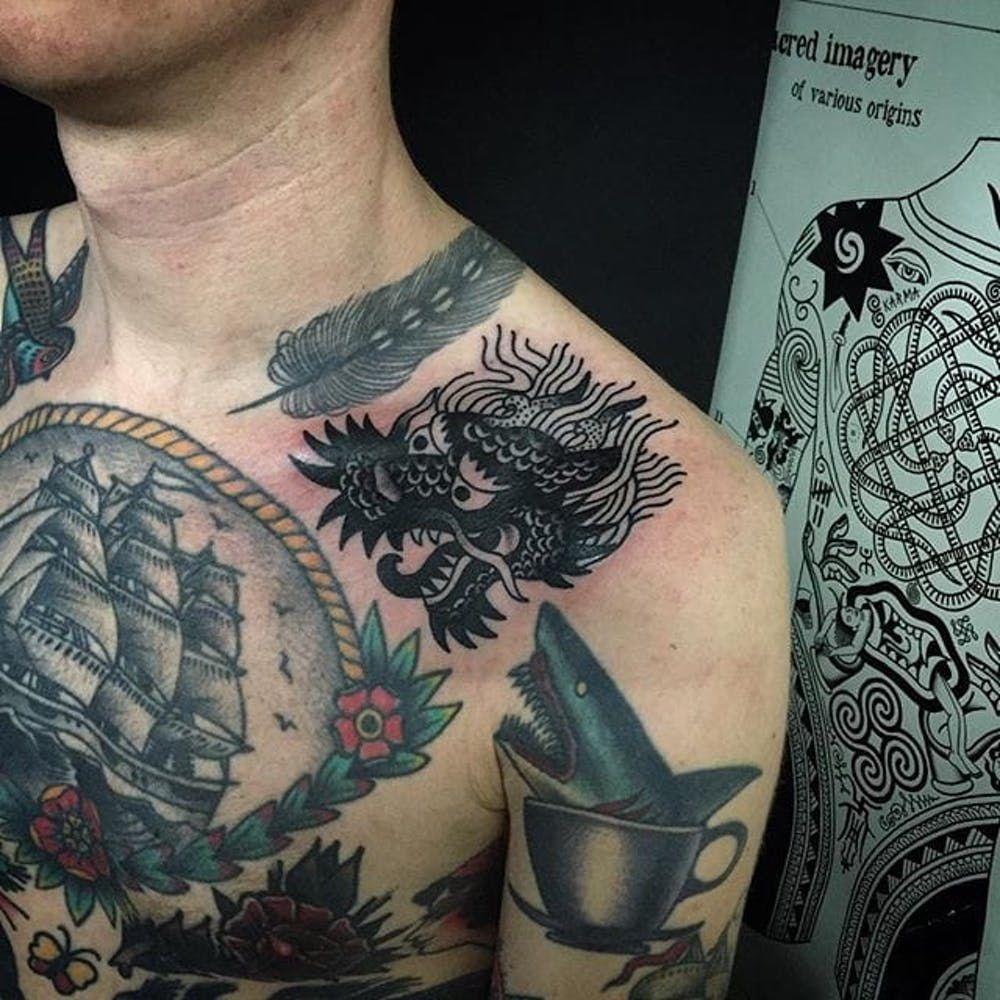тату фото голова дракона каталог татуировок
