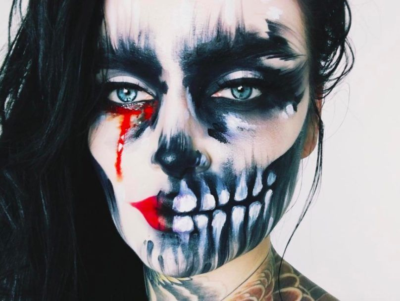 Макияж на Хэллоуин для девушек фото грим скелет