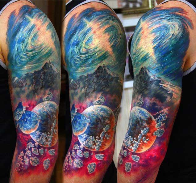 Тату фото: Астероиды и космос татуировки
