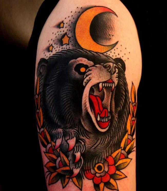 чб тату медведь фото on-tattoo
