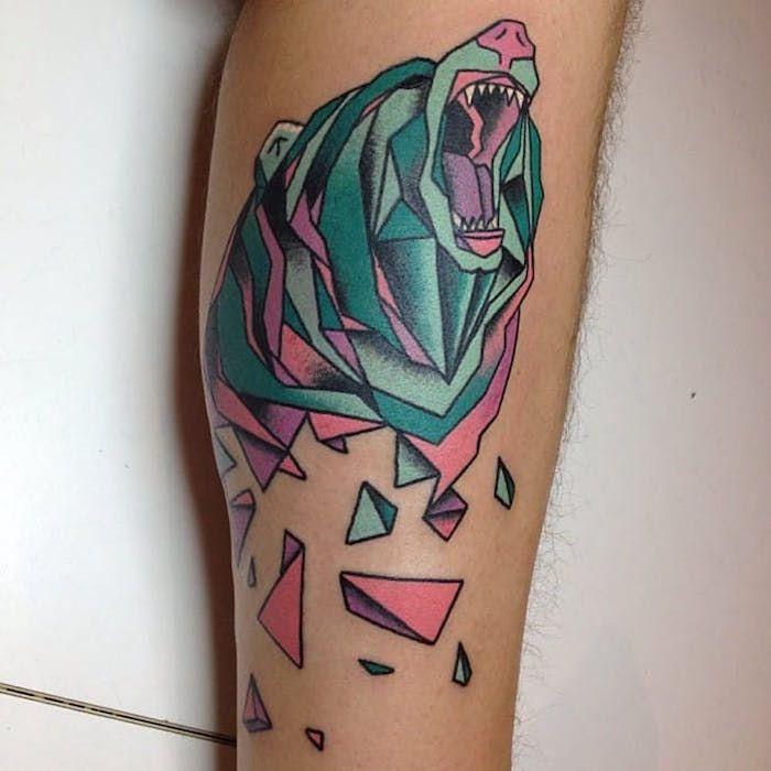 акварель тату медведь фото on-tattoo
