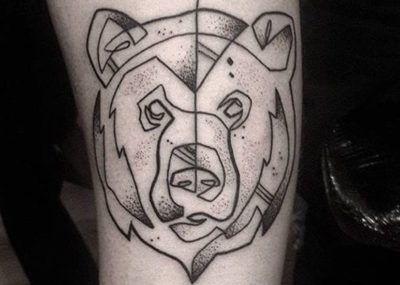 тату медведь лайнворк