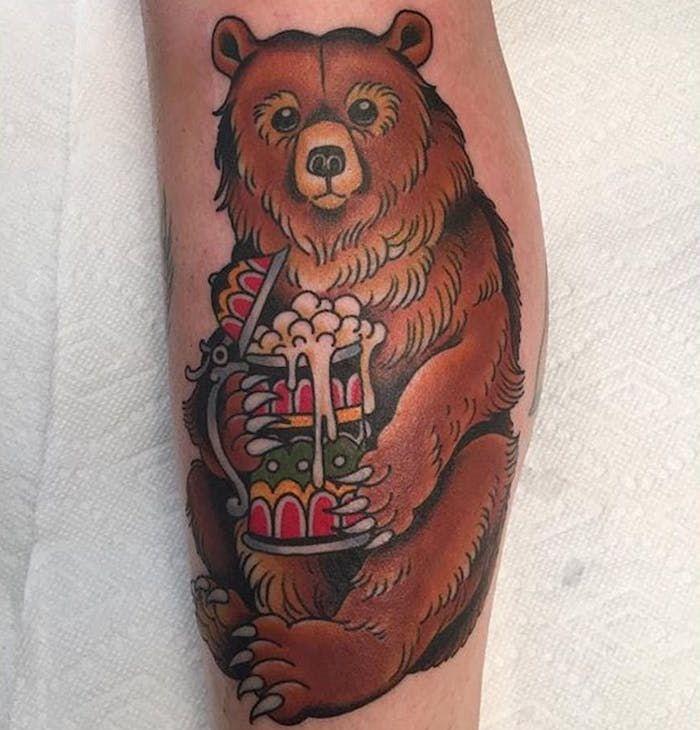 мёд тату медведь фото on-tattoo
