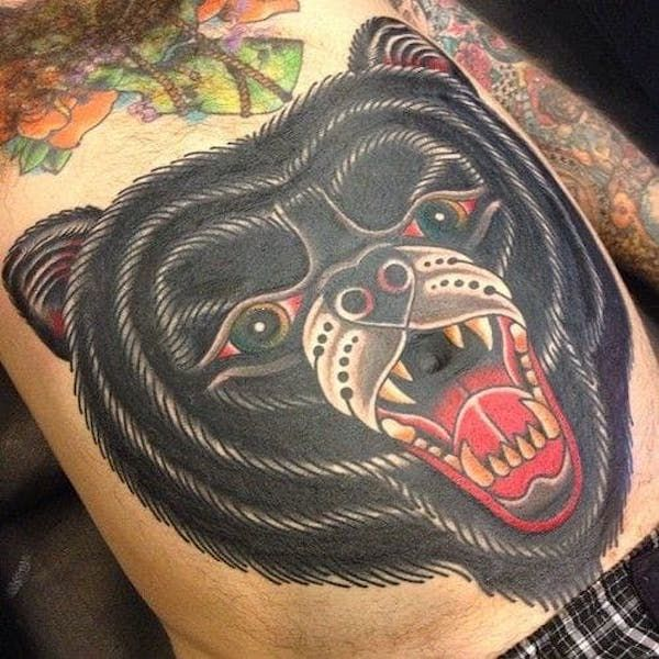 черный тату медведь фото on-tattoo