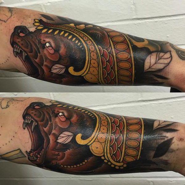 рукав тату медведь фото on-tattoo
