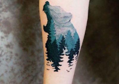 тату медведь лес