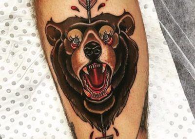 тату медведь оскал