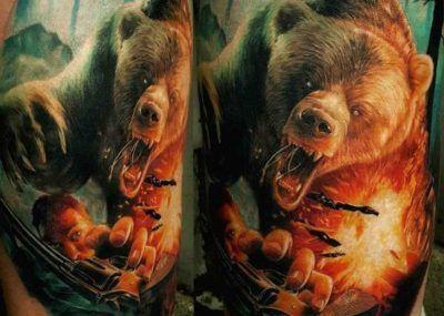 тату медведь гризли
