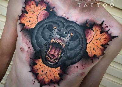 тату медведь свирепый