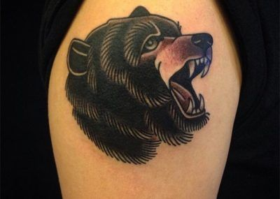 тату медведь голова