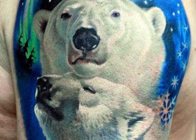 тату белый медведь