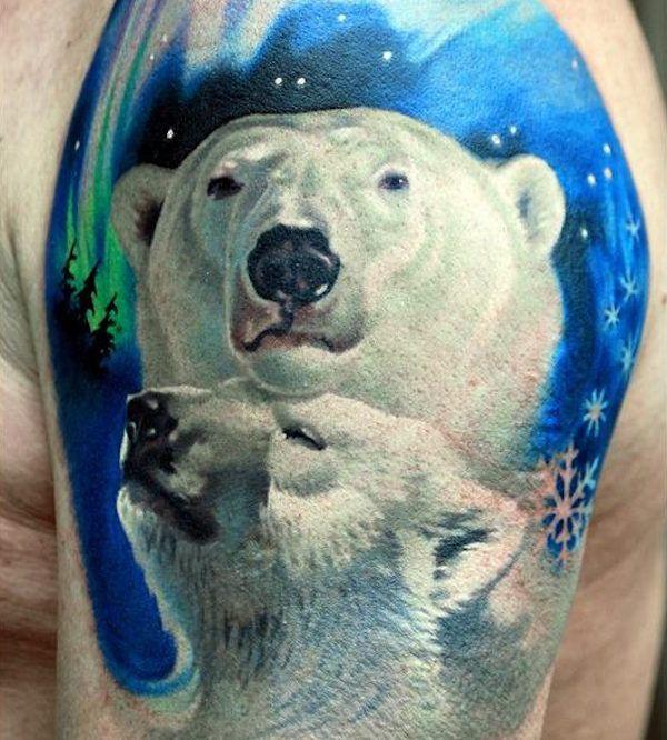 белый тату медведь фото on-tattoo
