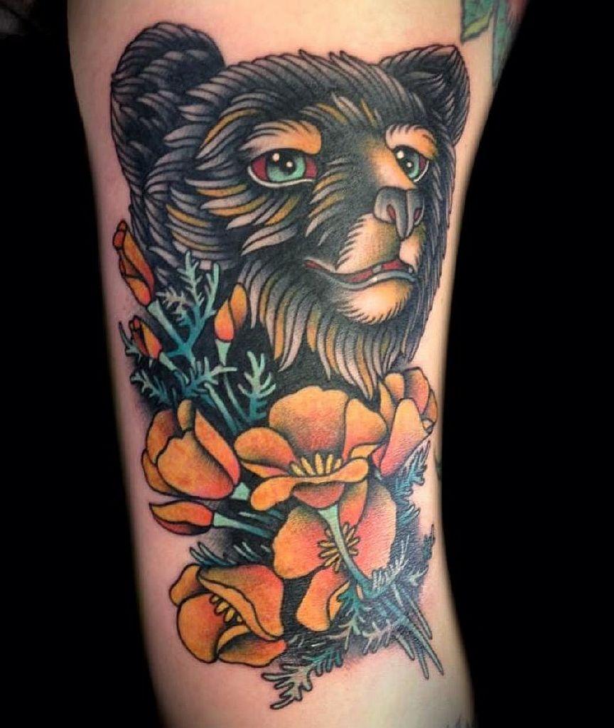 цветы тату медведь фото on-tattoo