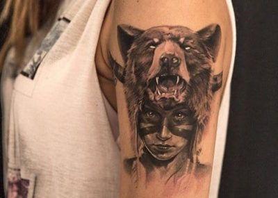 тату маска медведь