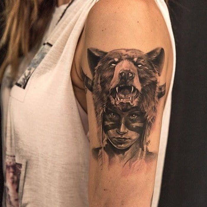 Native american bear tattoo