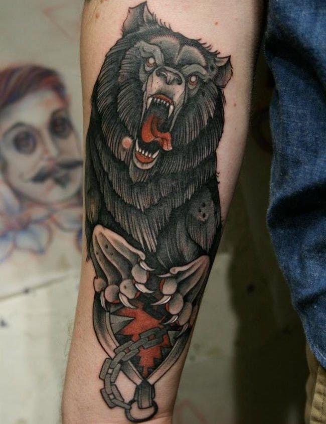 морда тату медведь фото on-tattoo