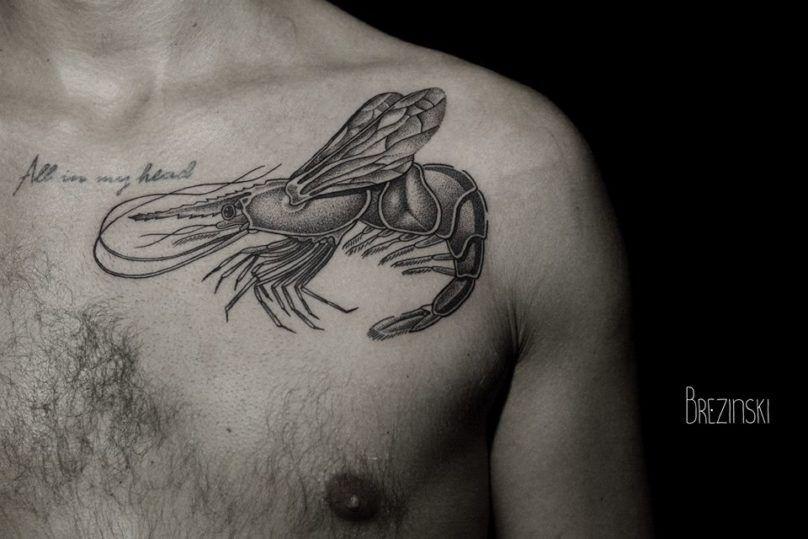 Surreal Tattoos белорусского тату-художника Ильи Брезинского on-tattoo фото лобстер