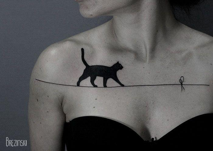 Surreal Tattoos белорусского тату-художника Ильи Брезинского on-tattoo фото кошка