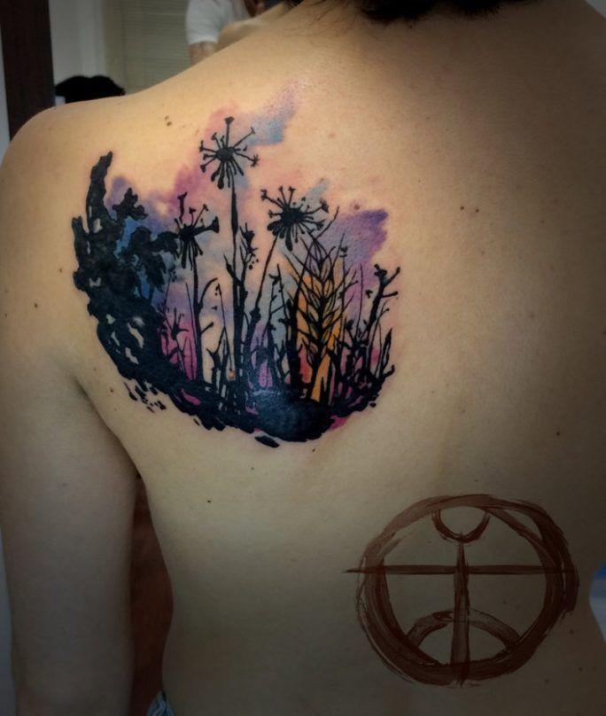 dandelion garden tattoo by koraykaragozler