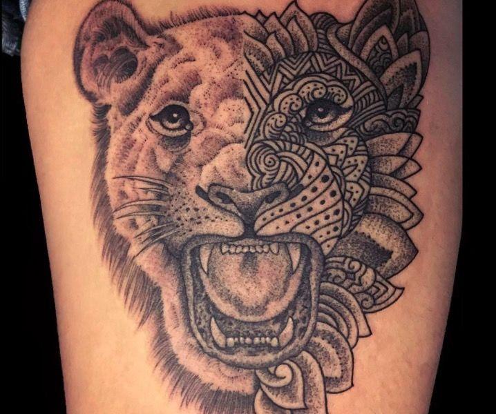 Крутые татуировки одного из ведущих мастеров Нью-Йорка в области dotwork лев