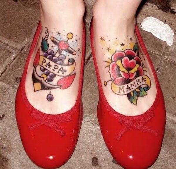 Традишнл. Фото картинки Тату Мама и Папа. mom & dad tattoo