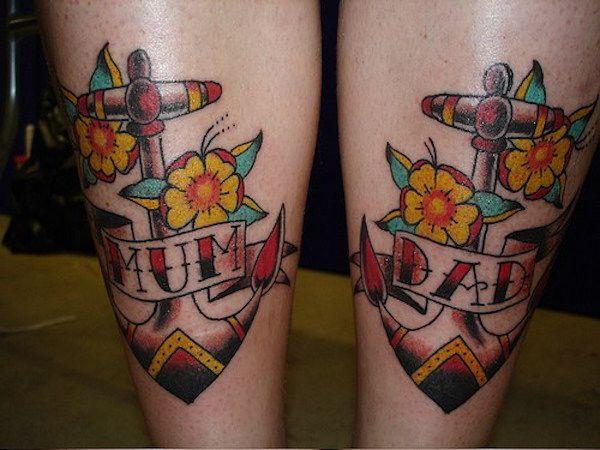 Якорь. Фото картинки Тату Мама и Папа. mom & dad tattoo